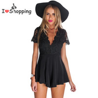 Summer Style Black Lace Jumpsuit Women V Sexy Hot Pants Casual mono mujer macacao feminino Playsuit Cut Out overalls Shorts New