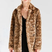 Kimchi Blue Louisa Vegan Leopard Pile Coat - Urban Outfitters