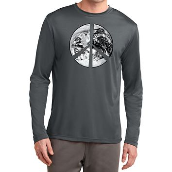 Buy Cool Shirts Peace T-shirt Earth Satellite Symbol Dry Wicking Long Sleeve