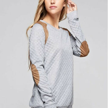 Quilted Love Grey Sweatshirt with Suede Accents