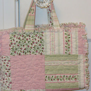Pink and Green Cheater Patchwork Rag Quilted Bible Book Cover RQQ