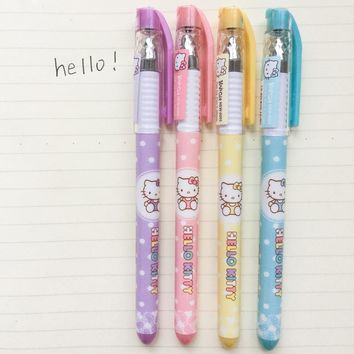 A13 3X Kawaii Adorable Hello Kitty Gel Pen School Office Supply Student Stationery Writing Signing Pen Black Ink 0.38mm