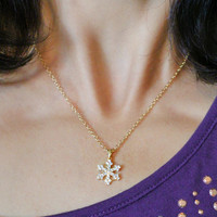 Gold Crystal Snowflake Necklace, 14k Gold fill, Frozen Jewelry Winter Holiday Christmas Gift, Gift for Her, Gift Guide, Sparkly Snowflake