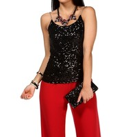 Black Sequin And Chain Strap Top