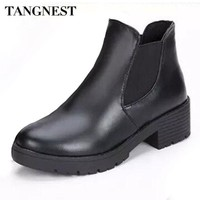 DCK7YE Tangnest Women Boots 2017 Autumn Fashion Chelsea Boots For Women Slip-on Platform Shoe