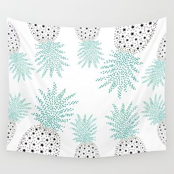 Pineapple Pattern Wall Tapestry by ES Creative Designs