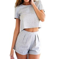 JUNKE Women's O-Neck Two Pieces Set Playsuit Dress Set Blouse Crop Top+short Pant
