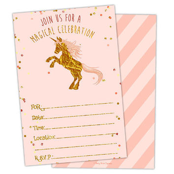 10ct Printed Unicorn Invitations - Pink and Gold Unicorn Birthday Invitation - Gold Glitter - Ready to Ship - Invitation Packs - Girl Party
