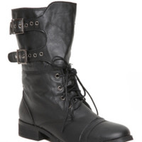 Jacobies Black Lace-Up Buckle Flap Flat Boot
