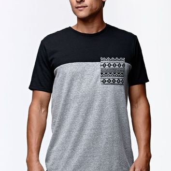 On The Byas Finn Block Pocket Crew T-Shirt - Mens Tee - Black