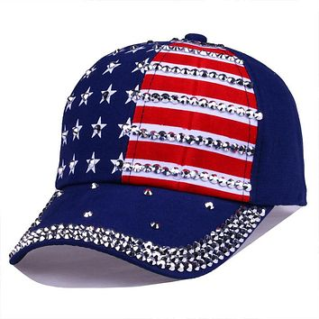 Bling Rhinestone Stripe Stars American Flag Baseball Cap Snap Back Hats for Men Women