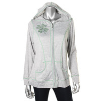 Style & Co. Womens Knit Embellished Zip-Front Hoodie
