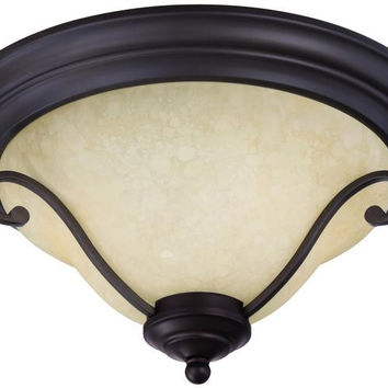 Callan Two-Light Indoor Flush Ceiling Fixture, Oil Rubbed Bronze Finish with Caramel Scavo Glass