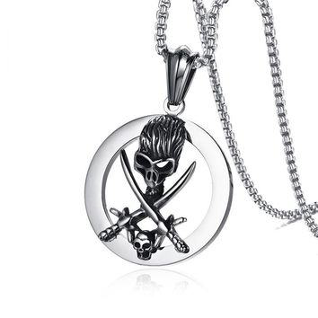 """Skull Knife Pendant Necklace Punk Jewelry 24"""" Chain Stainless Steel"""