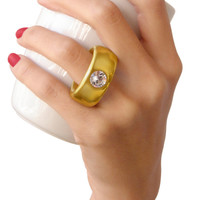 2-Carat Swarovski Crystal Coffee Ring Cup in Gold