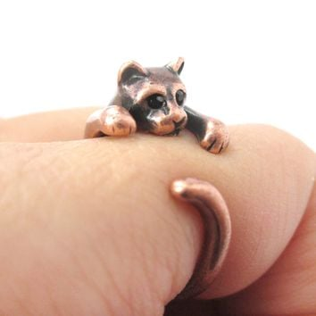 Realistic Kitty Cat Shaped Animal Wrap Around Ring in Copper | US Size 3 to Size 8.5