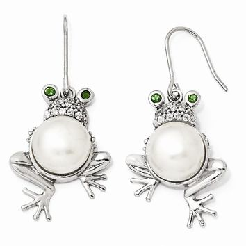 Sterling Silver Glass Simulated Emerald CZ Fresh Water Cultured Pearl Frog Earrings
