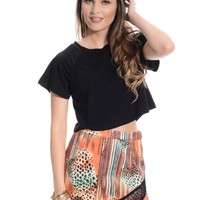 Black Boxy Braided Crop Top | $8.99 | Cheap Trendy Tees Chic Discount Fashion for Women | ModDeals.c