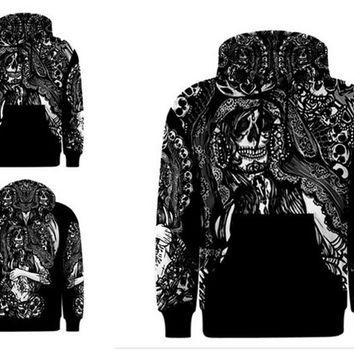 MENS  Sant Muerte Skull Reaper  Hoodie Tattoo Art  All over print fashion alternative gothic  goth emo punk hipster