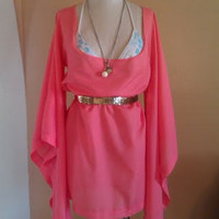 Coral Summer Dress with Flowing Sleeves