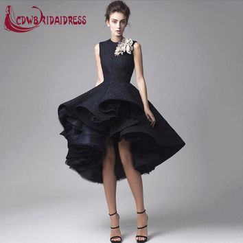Lovely Black Lace Tea-Length Cocktail Dresses With Flowers High Front Long Back Tulle Lining Fashion Graduation Party Gowns