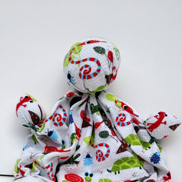 "Unique Baby Gift - Handmade Doll - Lovey Blanket - Soother Toy - 100% Cotton Flannel - Soft Baby Doll - Handmade Rag Doll - 11"" - 12"" Tall"