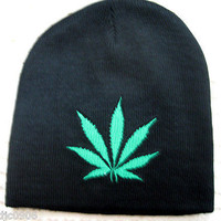 Medium Green Screen Print Marijuana MJ Weed Leaf  on Black Hat Cap Beanie-New!