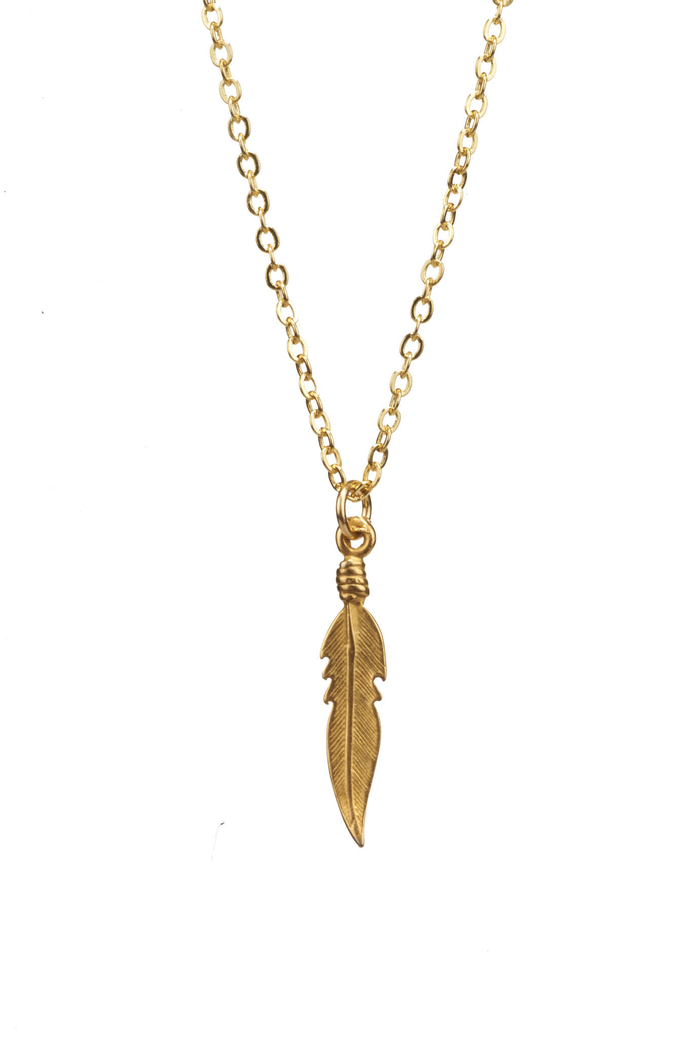 Mini Lucky Feather Charm Necklace in Gold from Sunday Girl Studio 10cb42ca4