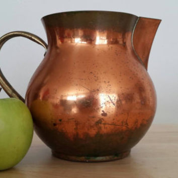 Copper Water Pitcher with Brass Handle Free Shipping, Mid Century Copper Pot with Handle, Large Copper Vase