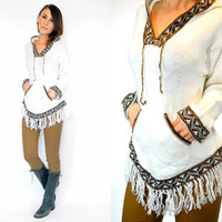 100% alpaca HOODED boho hippie ethnic fringed PERUVIAN SWEATER hoody, extra small-medium