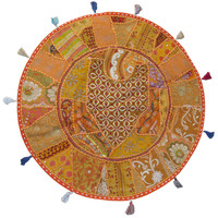 "32"" Large Orange Indian Patchwork Embroidered Floor Pillow Cushion Cover Sham"