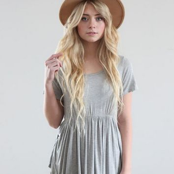 Slim Gray Pleated Shirt