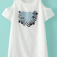 White Cold Shoulder Embroidered And Studded Cut Out A-Line Dress