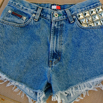 Custom Tommy Hilfiger Studded Cutoffs Vintage by MoonShineApparel