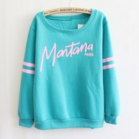 Women's clothing letters round neck fleece sweater (green)