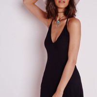 Missguided - Strappy Back Swing Dress Black