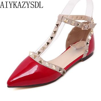 AIYKAZYSDL Women Flat Heels Cut Out Sandals Rivets Ankle T-tied strap Oxford Studded Moccasins Ballerinas Casual Shoes Red Black