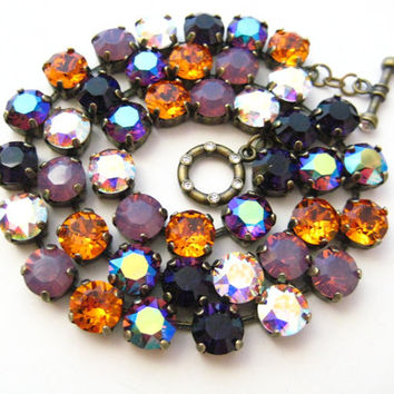 Swarovski All Premium Color Crystal Rhinestone Necklace, 18 Inch 42 Stone 39ss, Anna Wintour Inspired, Big Stones Layering Necklace