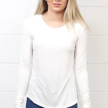 Comfy Basic U-Hem Long Sleeve {Off White}