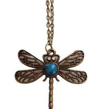 Vintage Dragon Fly Bronze Color Pendant Chain Necklace Steampunk Costume Jewelry