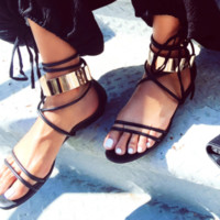 Hot trend summer flat sandals with gold yoke sandals