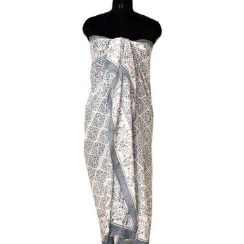 Summer Fashion Wear Cotton Beach Gray Sarong, Long Scarf, Fashion Beach Pareo - Gift For Her