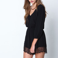 Black Angel Lace Crepe Romper - LoveCulture