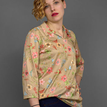 Vintage 70s Shirt • Floral Blouse • Boho Tunic Top • 1970s Blouse • Floral Shirt • Collared V Neck Pullover Smock • 3/4 Sleeve Floral Top