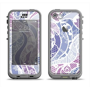 The Purple and White Lace Design Apple iPhone 5c LifeProof Nuud Case Skin Set