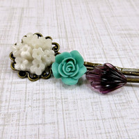 Flower Bobby Pins, Hair Accessories in Mint, Ivory, Purple Art Deco Vintage Glass Bobby Pin Set by Flower Couture