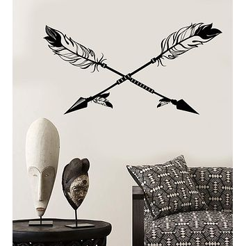Vinyl Wall Decal Arrows Ethnic Style Bird's Feathers Hunter Stickers Unique Gift (1980ig)