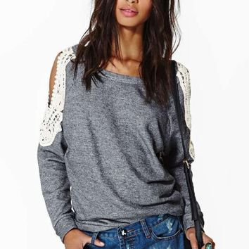 Grey Plain Cut Out Lace Collarless Round Neck T-Shirt
