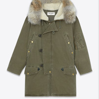 Saint Laurent Oversized Hooded Parka In Khaki Cotton And Linen | ysl.com