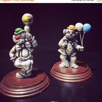 5 DAY SALE (Ends Soon) Vintage set of 2 1980s George Good Pewter Clown Figurines
